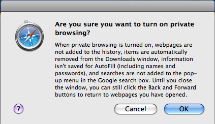Safari's Privacy Warning